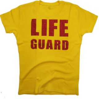 LADIES LIFE GUARD GLITTER FITTED YELLOW T-SHIRT